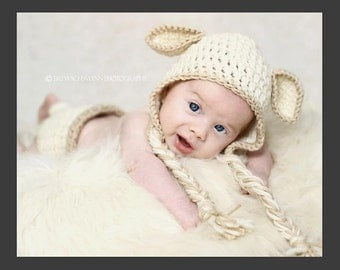 Precious Lamb Hat and diaper cover set- Made to Order- Any size