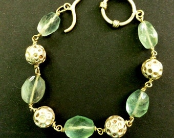 Aventurine and Sterling Silver Bracelet