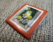 Chamomile postage stamp ceramic and resin brooch