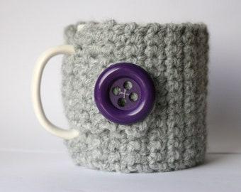 Mug wool cosy grey/purple
