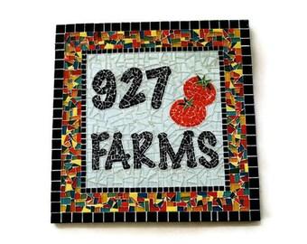 Custom Garden Mosaic, Address Sign, Mosaic Art