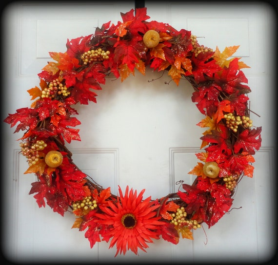 Fall Wreath - Berry Wreath - Grapevine Wreath - Leaves and Flowers - Halloween - Door Decoration - Thanksgiving - Holiday Decor