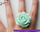 Pastel green rose ring - adjustable