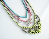 Vintage 1950s One Of A Kind Hand Painted 3 Strand Bold Neon Yellow Pink and Turquoise Rhinestone Necklace - Made To Order