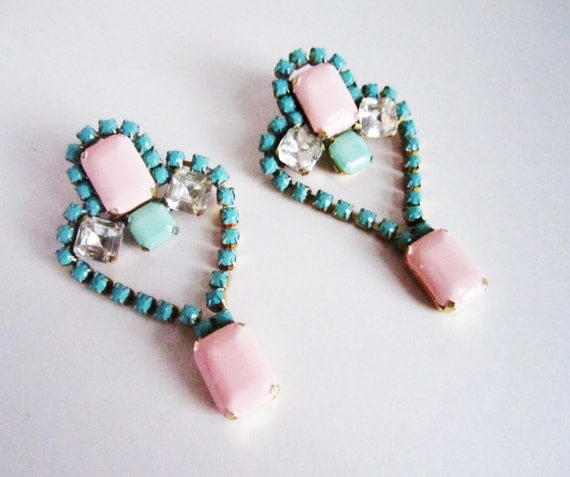 OOAK Vintage 1950s One Of A Kind  Hand Painted Pale Pink Turquoise and Mint Rhinestone Earrings