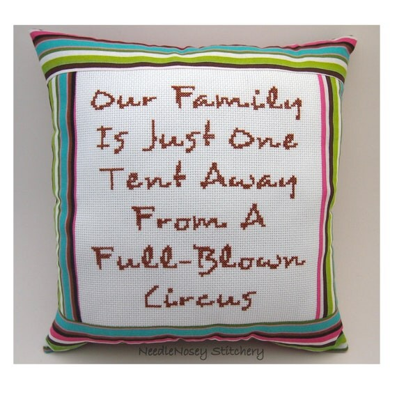 Funny Cross Stitch Pillow, Funny Quote, Multicolor Striped Pillow, Family Quote