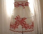Vintage White and Red Sheer Flocked  Christmas Apron