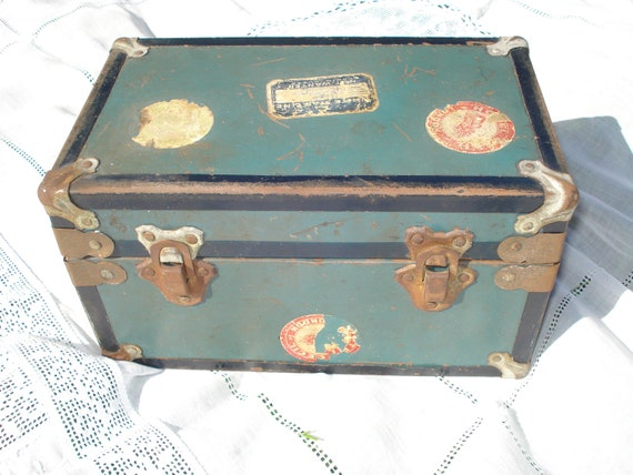 Vintage Metal Doll Trunk Rusty and Well Traveled
