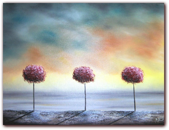 Original Abstract Painting, Lollipop Tree Landscape Painting, Pink Tree Art Wall Decor, Contemporary Art, 12 x 16, Oil Painting