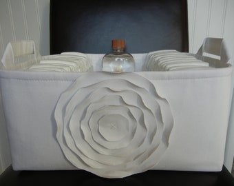 """Ex Large-Diaper Caddy-14""""x 10""""x 7""""(CHOOSE COLORS)Two Dividers-Baby Gift-Fabric Storage Organizer-""""White Rose on White"""""""