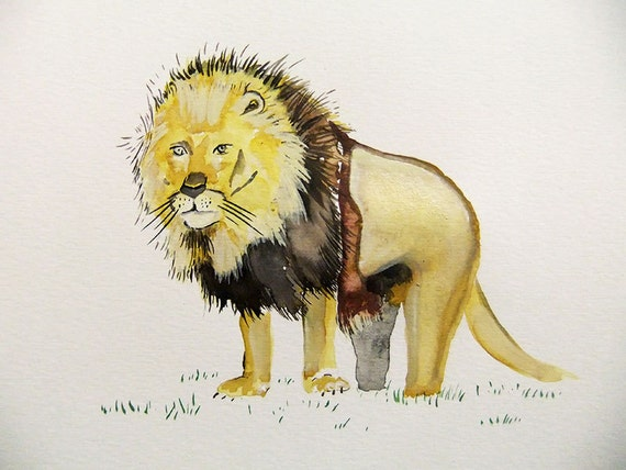 Original Watercolor Painting-Lion