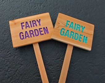 FAIRY GARDEN Cedar Wood Sign, Oil Sealed: Hand Routed, Custom Sign, Personalized Marker, Fairy Sign, Pixie Marker, Outdoor Sign, Yard Art
