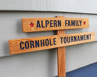 Personalized CORNHOLE GAME Sign, Tournament Sign, Family Games, Lawn Games, BBQ Party Sign, Baggo Game Sign