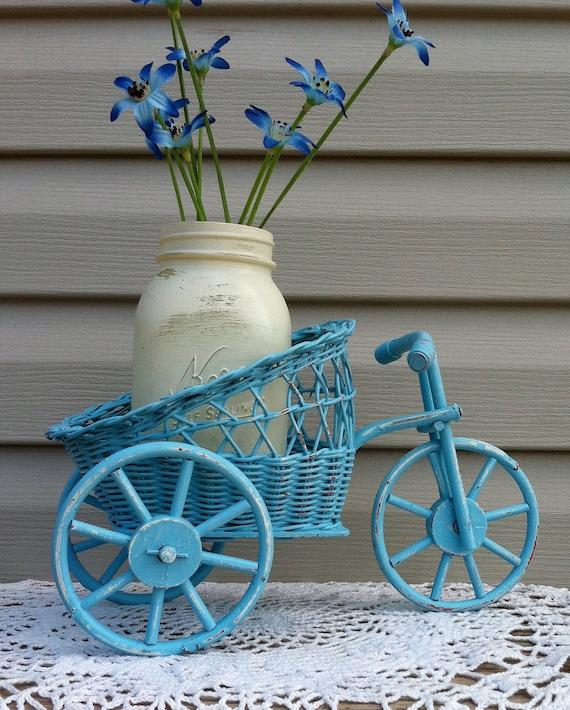 Wicker Tricycle Flower Cart w/Mason Jar / Vintage Wicker Planter / Beach Decor