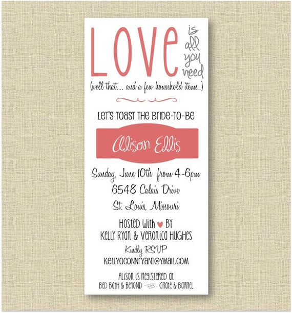 Bridal Shower Invite - All you need is love. Well that and a few household items - 3.75x8.5 letter size PDF - DIY :)
