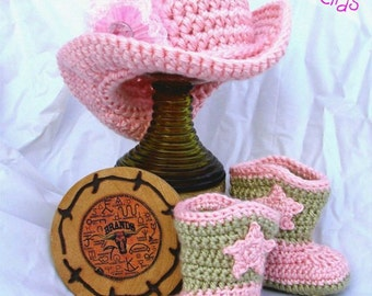 Cowgirl crochet Hat & Boot Set