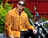 Vintage 1980s  Tan Suede Mens Fringe Jacket by Western by Schott NYC - Size 40 - Made in USA