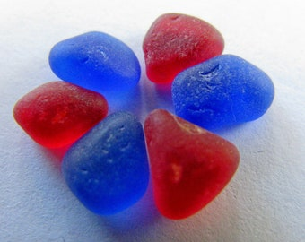 Tiny Red Blue Seaglass Bulk Beach Glass - for Jewelry Art Mosaic