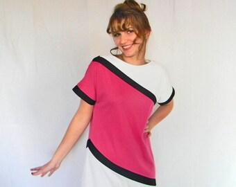 Vintage Pink White Black Dress. Color Blocks Shift Dress. 1980s Mad Men Fashion. Magenta Hot Pink White Black. Medium. Mod. Summer Dress