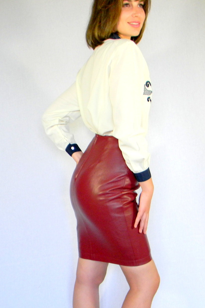 SALE Vintage Leather Skirt Hug Buscati Dark Red Figure Fitting