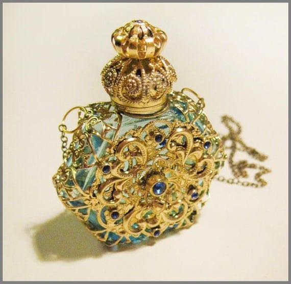 vintage perfume bottle czech baroque blue