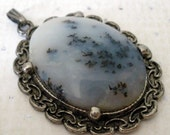 Dendritic Agate Pendant, Black and White, Natural Stone Jewelry