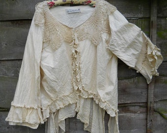 RITANOTIARA Victorian Romantic Gothic  Lagenlook Cream Pearl Jacket & Vintage crochet Rodeo Prairie look Baroque Pastel Goth Mori Girl OSFA