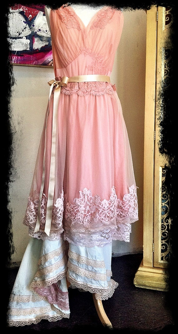 reserved for carla blush nude & ivory chiffon tulle vintage lace fishtail gown medium by mermaid miss k