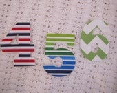 No Sew Fabric Letter or Number Iron On Applique for t-shirt or baby bodysuits You pick the fabric