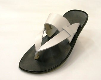 Man white leather sandals