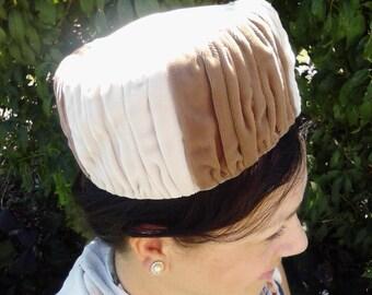 Vintage Brown Velvet Pillbox Hat ECS