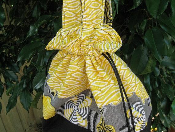 Bumblebee black, grey, and yellow reversible drawstring bento tote