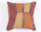 Handwoven Wool Vintage - Turkish Kilim Pillow Cover 16''x16'' Anatolian Turkish Throw Cushion - Sham pillow case - Tribal Pillow Boho Home