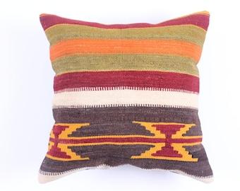 Handwoven Wool Vintage Turkish Kilim Pillow Case 16''x16'' Anatolian Turkish Throw Cushion Sham pillow case Tribal Pillow Boho Home