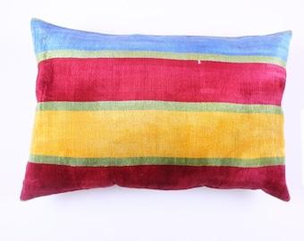 Buglem / Handmade ikat silk velvet Pillow Cover- 24,40x16,40 inch free shipment