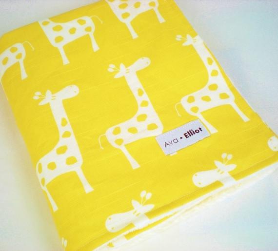 Baby Blanket, Golden Yellow Giraffe with White Minky