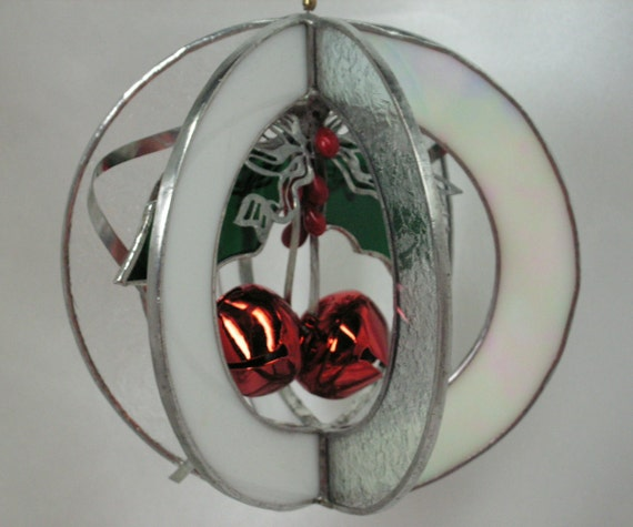 Red Bells in Stained Glass Suncatcher Whirl