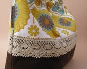Golden Sunflower Purse with Brown Corduroy and Natural Lace