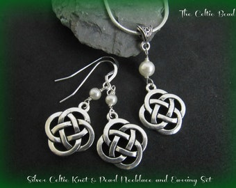 Silver Celtic Knot Necklace & Swarovski Pearl Earrings