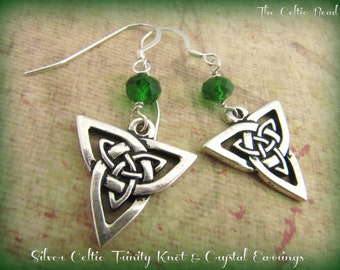 Silver Celtic Trinity  Knot & Green Crystal Earrings