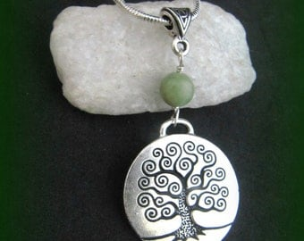 Connemara Marble and Silver Large Celtic Tree of Life Necklace