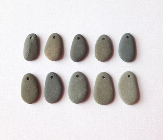 Beach Pebble Beads - Set of 10