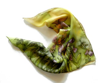 Iris flowers silk scarf. Hand painted silk scarf in yellow , violet and green color palette. Ready to ship.
