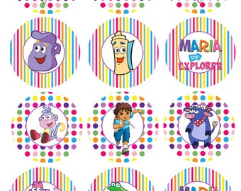 Dora the Explorer Party Circles Cupcake Toppers Digital File