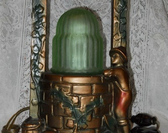 Chalkware Wishing Well Lamp - Original - Ohio Statuary 1933