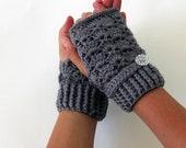 Gray Crochet Fingerless Gloves, Eco Friendly Yarn