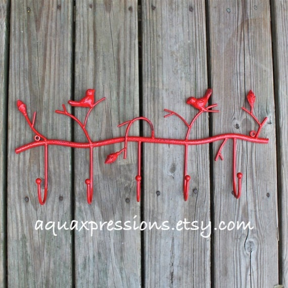 Wall Hook Red Bird Shabby Chic Decor Metal By