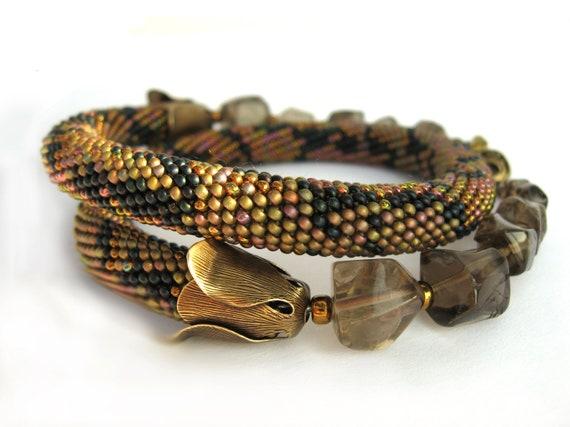 "Bead Crochet Necklace ""Python""  Khaki  indigo bronze   Super gift on the Halloween and New Year Free shipping"