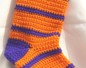 Clemson Crocheted Christmas Stocking-Orange and Purple