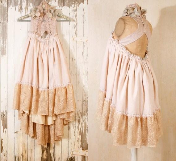 Hippie boho wedding dress Bohemian wedding dress Babydoll dress  Short wedding dress Rustic wedding dress Bohemian wedding dress